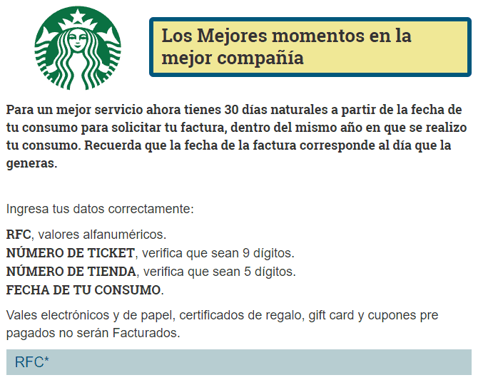 starbucks facturación