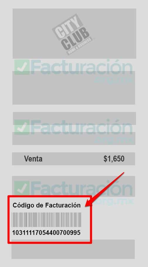 Ticket para Facturación City Club