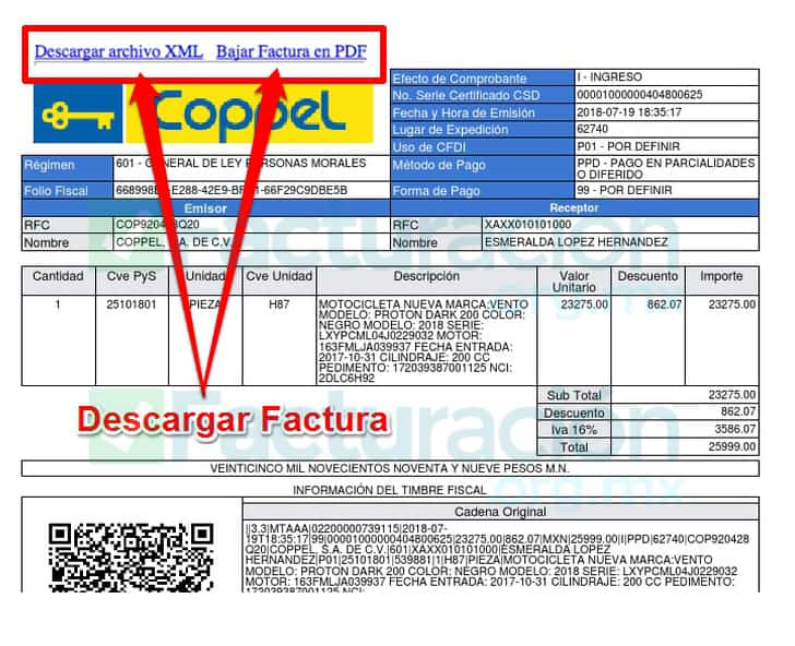 Descargar factura Coppel