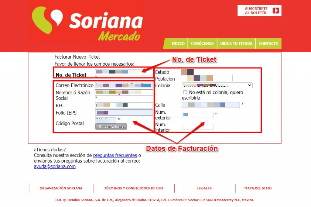 Facturación Soriana Mercado